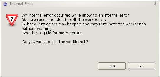 An internal error occurred while showing an internal error